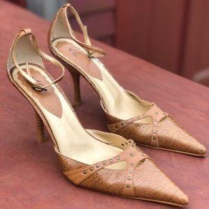 Light Brown Tan Cross Crackle Leather High Heels